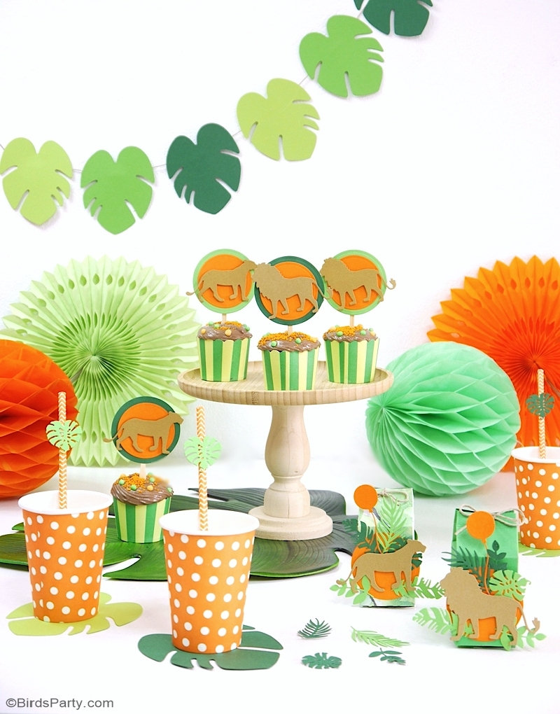 DIY Lion and Jungle Birthday Party Decorations - pretty and easy to make projects for a tropical party or wedding or Lion King birthday with Sizzix! by BIrdsParty.com @birdsparty #lionking #lionbirthday #lionparty #junglebirthday #jungleparty #diy #diyparty #diypartydecor #sizzix #diylionbirthdayparty #lionkingparty #diypartydecorations