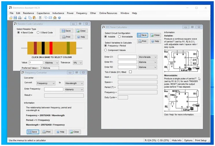 Electronics Assistant : Υπολογίστε αντιστάσεις πηνία, πυκνωτές και άλλες παραμέτρους