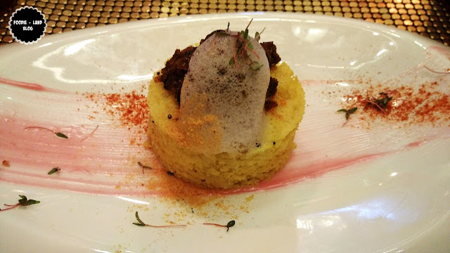 Mutton Sukkad on a dhokla pillow@Aspect Bon Vivant @ Nimisserie | Bangalore