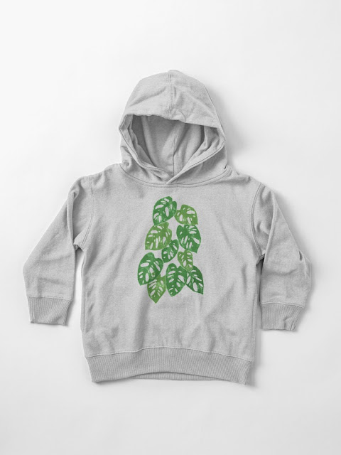 Monstera Adansonii Tropical Houseplant Hand-Painted Art Toddler Pullover Hoodie