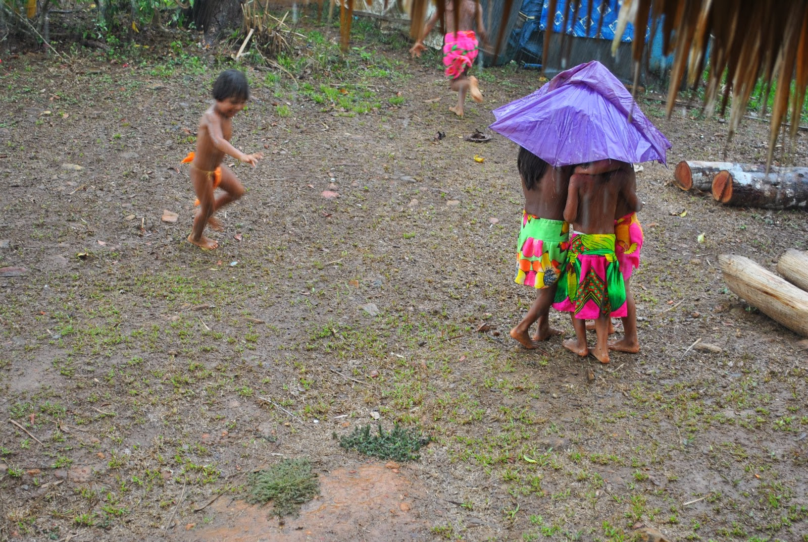 Farsighted Fly Girl Embera Children Playing In The Rain