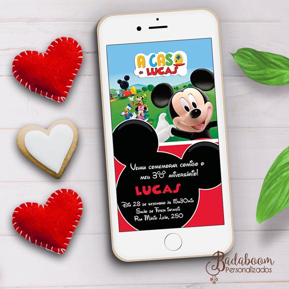 Mickey, a casa do mickey, arte digital, convite digital, whatsapp, arte personalizada, festa infantil