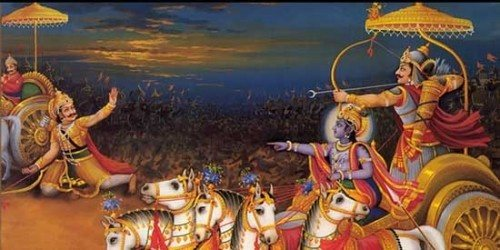 Story of Krishna Pressing Chariot Down in the Mahabharata War