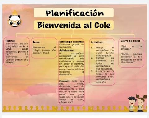 Planificación diaria: Bienvenida al Cole (regreso a clases). by Rutadegenios.com