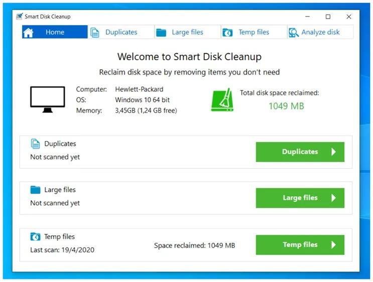 Smart Disk Cleanup :  Καθαρίστε τον υπολογιστή σας  από παλιά και περιττά αρχεία