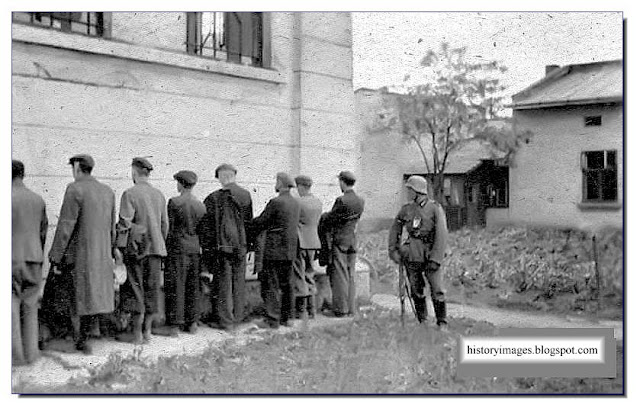 Preparing execution shot against the wall Einsatzgruppen Nazi exterminators