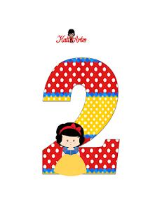 Números de Blancanieves Bebé. Snow White Baby Nummbers.
