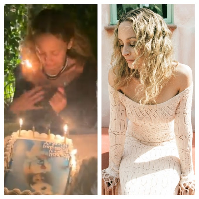 OMG: NICOLE RICHIE'S HAIR ACCIDENTALLY  CAUGHT  FIRE WHILE BLOWING OFF HER 40TH BIRTHDAY CANDLES,(VIDEO).