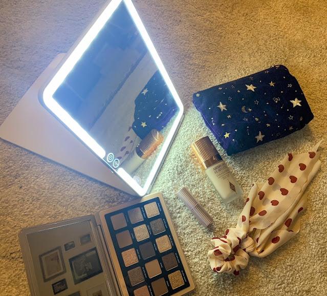 Light Up Mirror and Makeup Flat Lay
