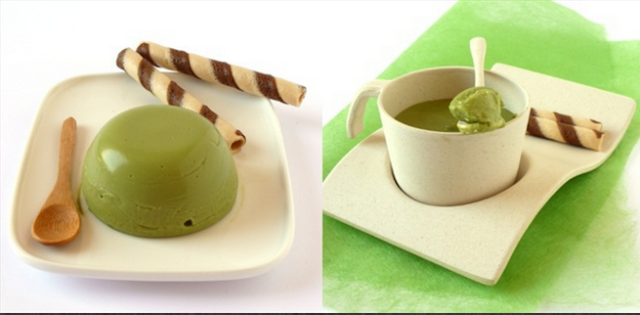 Resipi dan puding teh hijau coklat putih