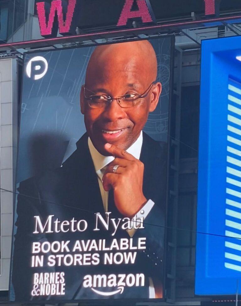"Mteto Nyati's new book ""Betting on a Darkie"" debuts on NewYork Times Square Billboard"
