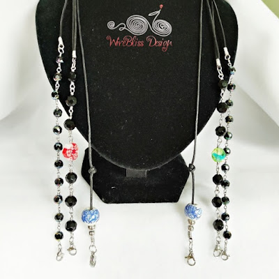 Leather cord face mask / eyeglasses straps with ceramic and fire polished beads