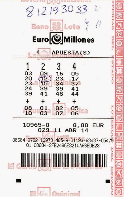 корешок от участия в лотерее