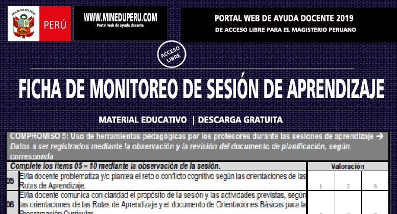 Ficha de Monitoreo de la Sesión de Aprendizaje   Rubricas