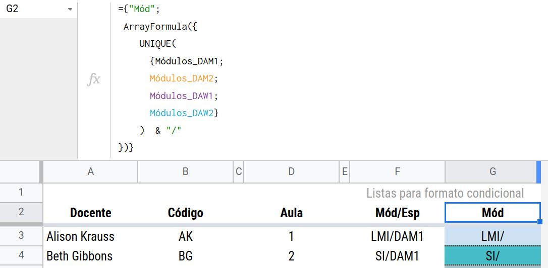 Fórmula para generar la lista de módulos únicos.