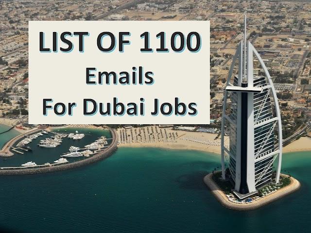 1100 Emails For Dubai Jobs