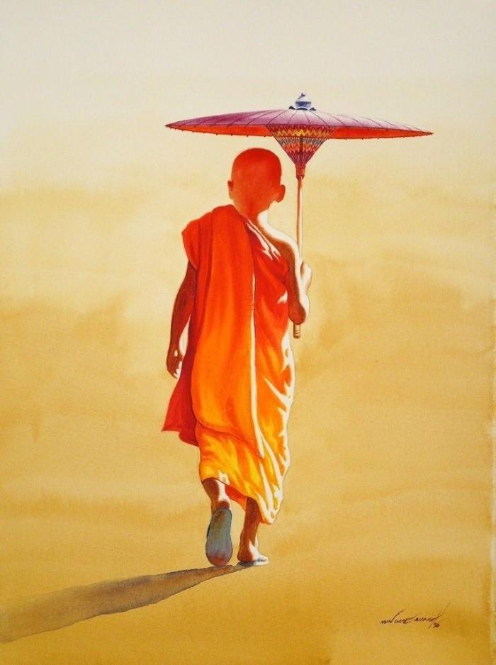 Монахи и монахини в оранжево-коричневых одеждах