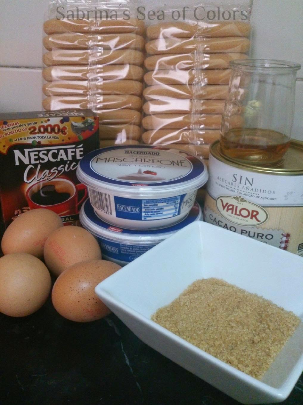 Ingredientes para el Tiramisú