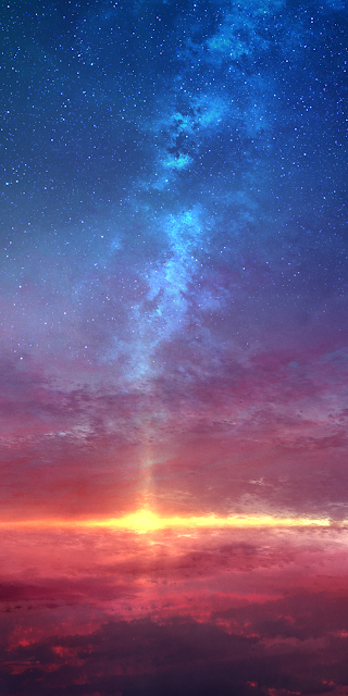 The sunset in the starry sky