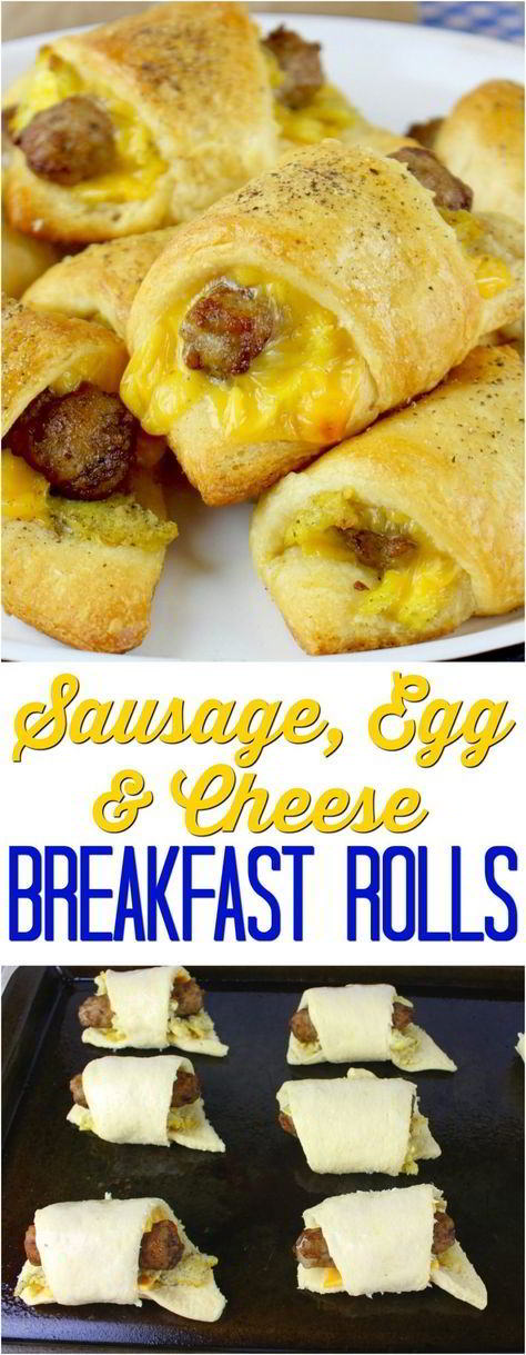 Sausage, Egg and Cheese Breakfast Rolls #breakfastrecipes #breakfastideas #breakfastrolls