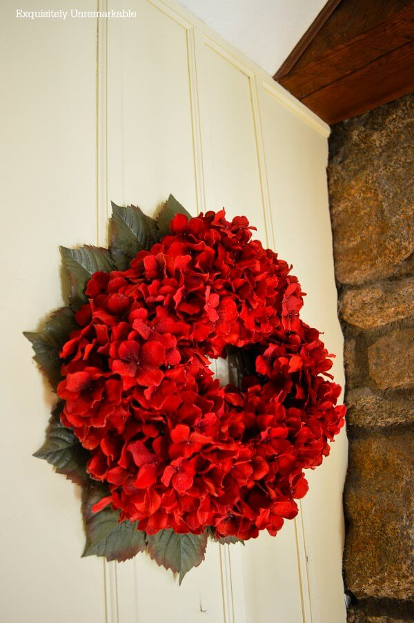 Red Hydrangea Wreath In Living Room