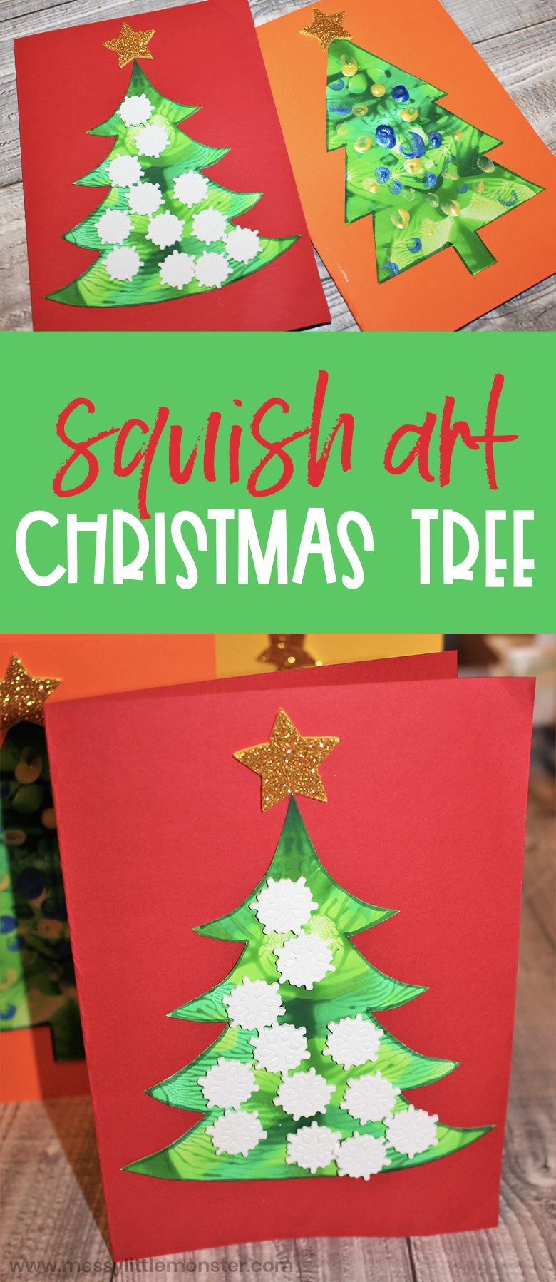 Squish art Christmas tree craft for kids. Fun and easy Christmas craft for toddlers and preschoolers with Christmas tree template.
