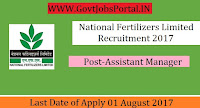 National Fertilizers Limited Recruitment 2017– Assistant Manager