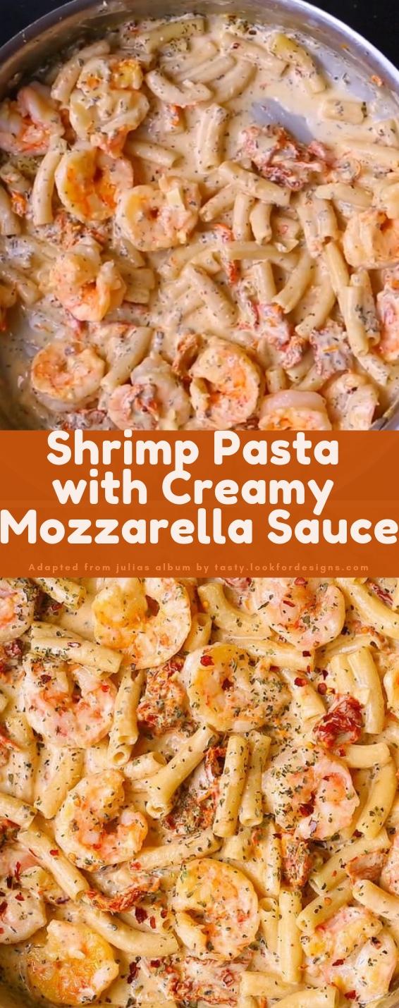 Shrimp Pasta with Creamy Mozzarella Sauce