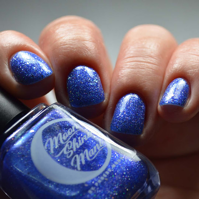 blue metallic nail polish low light swatch