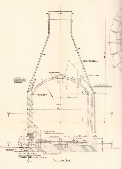 Extract from a drawing of a downdraught biscuit bottle oven by Stanley Hind 1927