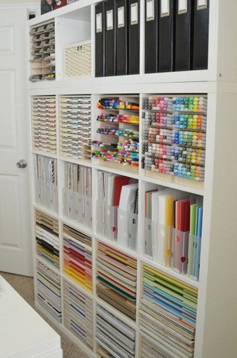 Ikea hack for Kallax shelving for craft supplies - found on Hello Lovely Studio