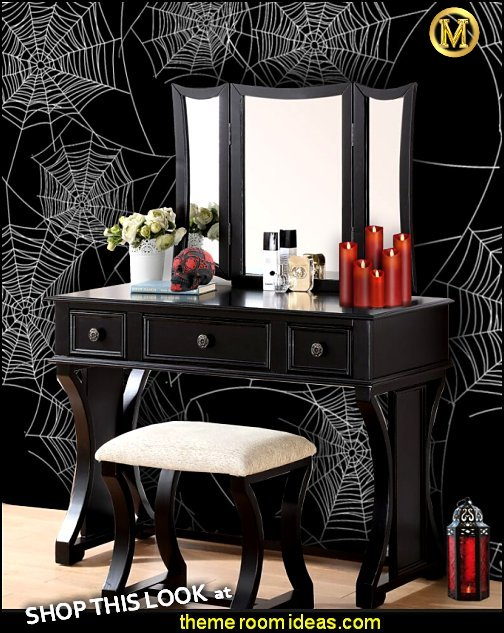 Nancy Vanity Set with Mirror  Gothic style bedroom decorating ideas - Gothic furniture - Gothic chic - Victorian Gothic boudoir themed decor - Gothic Beds - Gothic Seating - Gothic Lighting - Designing a Gothic Room - Goth style for teens - Gothic Victorian Bedroom Theme - vampire themed bedroom decorating ideas - Gothic Wall Murals   maries manor