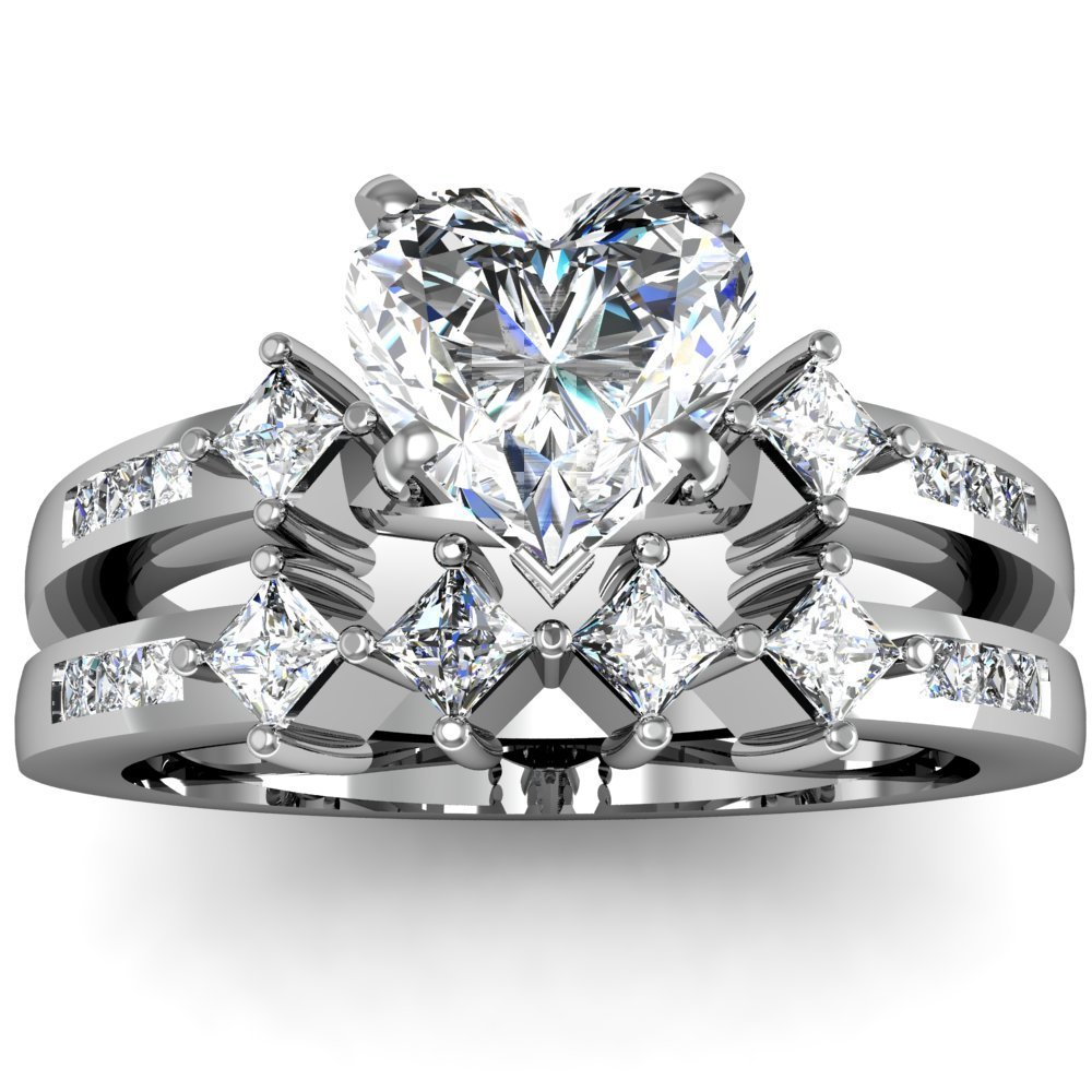 engagement rings and wedding band sets wedding band sets Ring Heart Shaped Diamond Engagement And Wedding Ring Sets