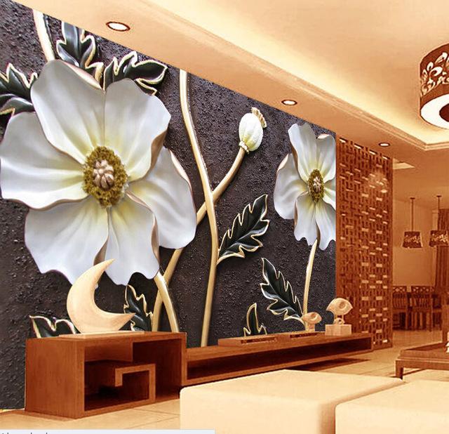 blommig fototapet blommor 3d vardagsrum vita