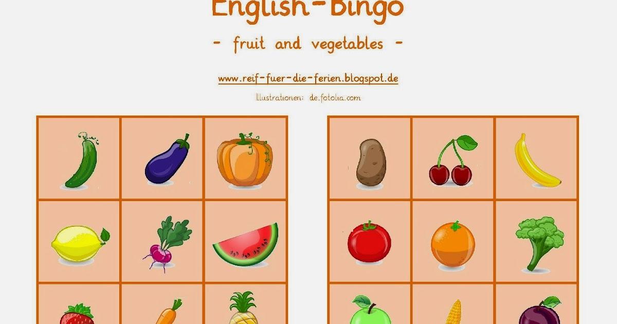 reif f r die ferien englisch bingo zum thema fruit vegetables. Black Bedroom Furniture Sets. Home Design Ideas