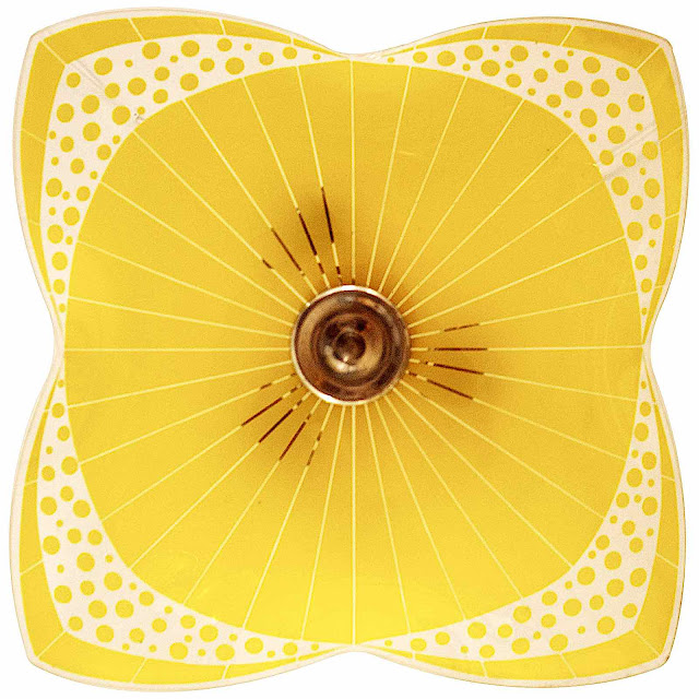 a Czech ceiling lamp design at the 1958 Brussels World's Fair, in amber or yellow