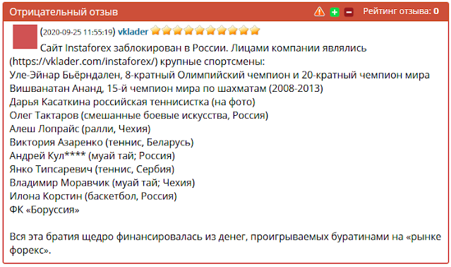 Отзывы и комментарии о сайте: instaforex.com