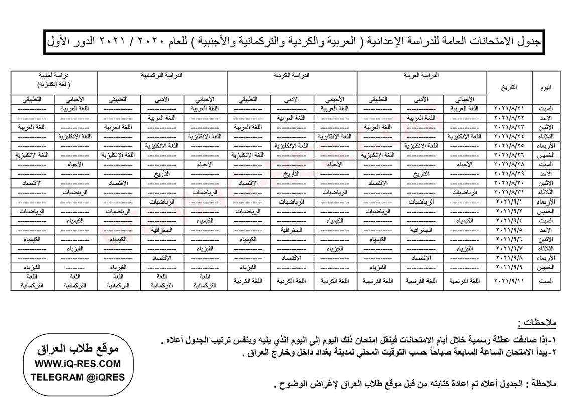 جدول امتحانات الصف السادس الاعدادي الدور الاول 2021 بفرعيه العلمي والادبي 1078178700