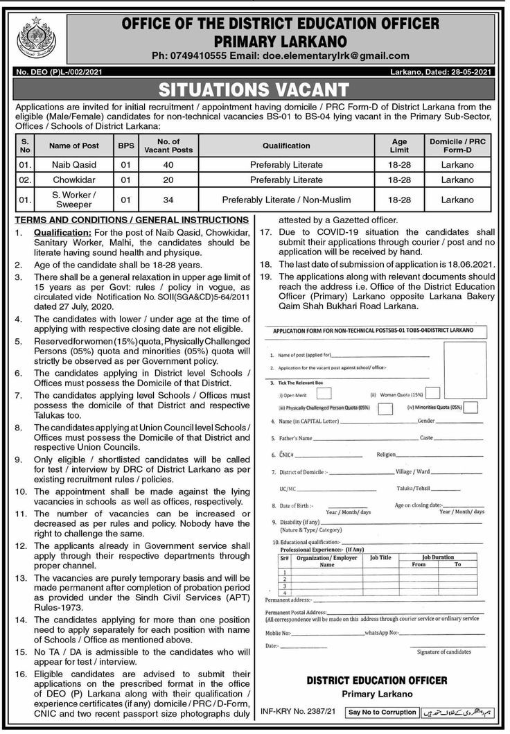 94 Posts in Office Of The District Education Officer Primary Jobs Larkana 2021