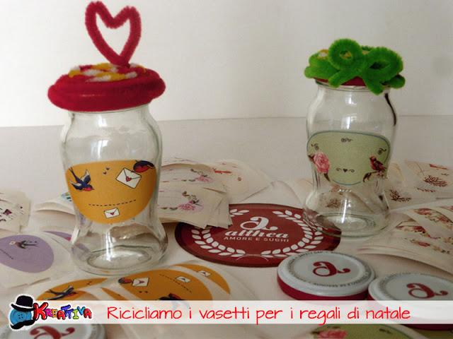 Riciclo creativo dei vasetti di vetro per i regali di natale