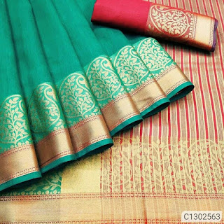 Special Cotton Sarees With Jacquard Work Border With Contrast Pallu