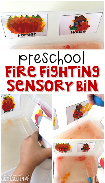 Kids won't be able to resist this fun firefighting sensory bin.  Pretend to spray and put out fires to reveal buildings and places in the community. Great for tot school, preschool, or even kindergarten!