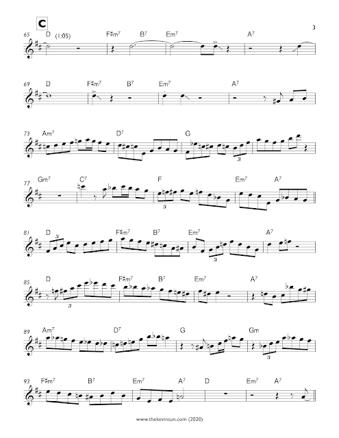 """Fine and Dandy"" – Charlie Parker Solo Transcription (Eb) 1950 Sweden Page 3"