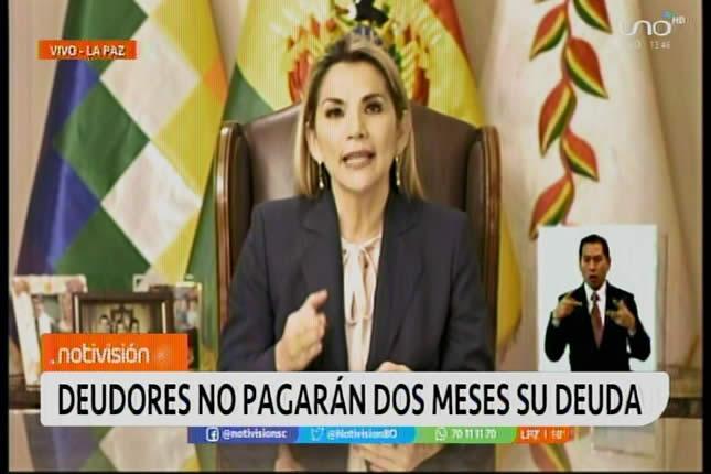 Presidenta Áñez anuncia cuatro medidas de ayuda económica para familias y pequeñas empresas