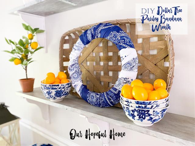 bandana wreath blue white bowls lemons
