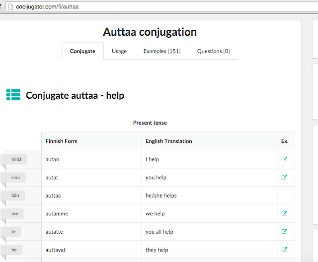 CoolJugator's Finnish conjugation of the word auttaa - to help