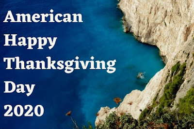 American happy thanksgiving day 2020 written on sea & mountain background image.