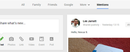 New 'Mentions' button rolling out to Google+ on the web