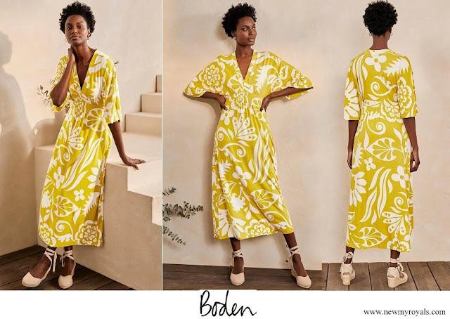 Princess Stephanie wore Boden Poppy Jersey Maxi Dress - Chartreuse, Garden Tropic