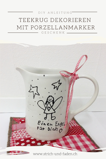 Teekrug mit Porzellanstift dekorieren